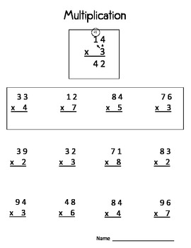 Double Digit by Single Digit Multiplication