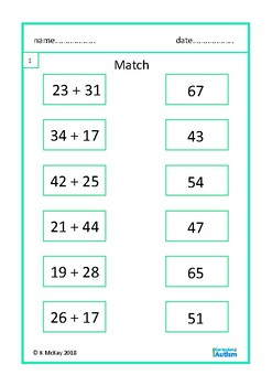 Double Digits Addition Subtraction Match Autism Special Education