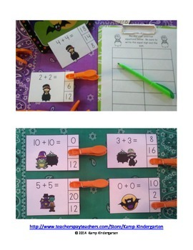 Double, Double, Cauldron Bubble!  Halloween Addition Math Centers  (Sums to 20)
