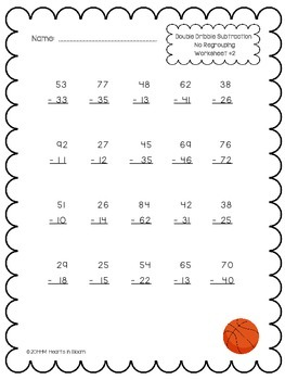 Double Dribble Subtraction (30 Worksheets: Regrouping and No Regrouping)