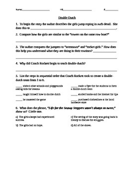 Double Dutch Comprehension Questions Houghton Mifflin Journeys