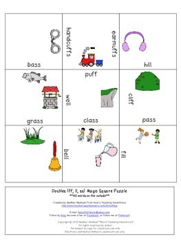 Double Ending Words (ff ll ss) Literacy Center Games