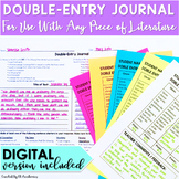 Double Entry Journal Reading & Writing Activity for Any Novel DIGITAL and PRINT