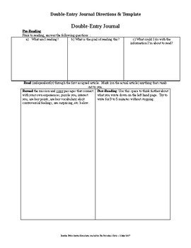 Double-Entry Journal - Student Directions and Template