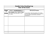 Double Entry Reading Log with Summary