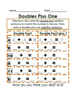 Double Facts Plus 1- easier and harder facts