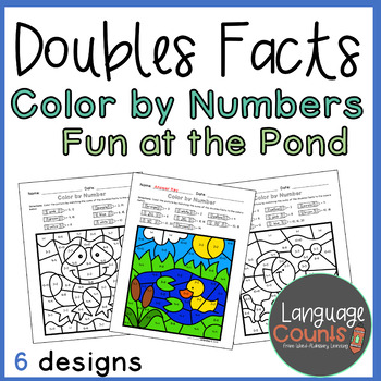 Doubles Facts to 20- Color by Number Pond-Themed