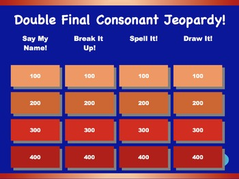 Double Final Consonant Jeopardy Games! {4 games}