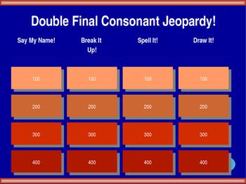 Double Final Consonant Jeopardy! [ss, ff, ll]