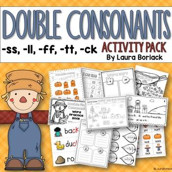 Double Final Consonants Ss Ll Ff Tt Ck Activity Pack Tpt