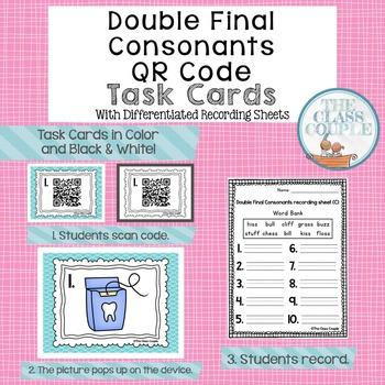 Double Final Consonants QR Code Task Cards