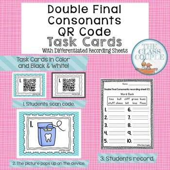 Double Final Consonants QR Code Task Cards