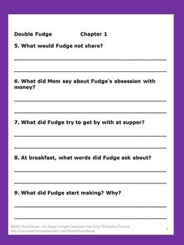 Double Fudge Literacy Unit