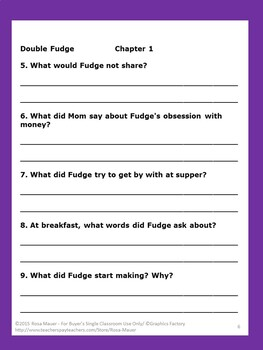 Double Fudge Literacy Unit