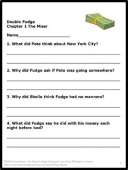 Double Fudge Reading Comprehension By Rosa Mauer Tpt