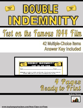 Double Indemnity: The Test for the Film (4 pg., Answer Key Inc., $3)