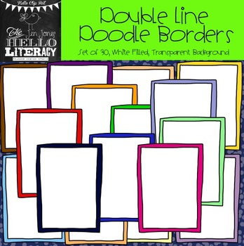 Double Line Doodle Borders: For Personal & Commercial Use