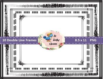Borders Borders - Double Line Frames (Digital Borders for