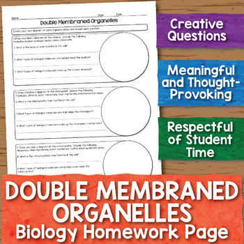 Double Membraned Organelles Biology Homework Worksheet