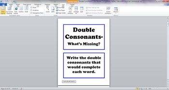 Double Middle Consonants Task Cards