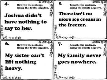 Double Negative Task Cards (FREE)