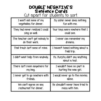 Double Negatives Activity By Bring Lit On Teachers Pay Teachers