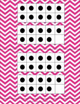 Double Number Frames with dots (11-20) in Magenta Chevron