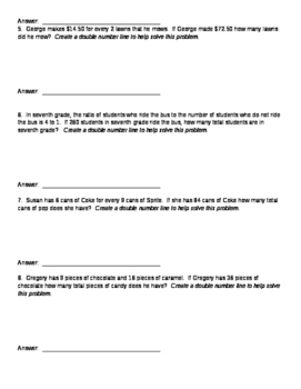 Double Number Line Notes, Activity, and Homework