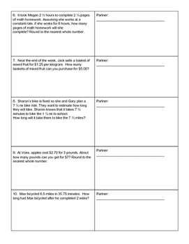 Double Number Line Partner Worksheet