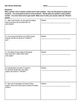 Double Number Line Partner Worksheet