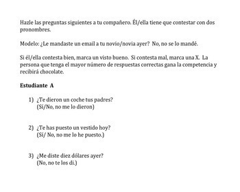 Spanish Double Object Pronoun Game