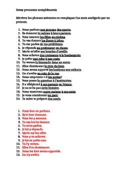 Pronoms compléments Double Object Pronouns worksheet 7