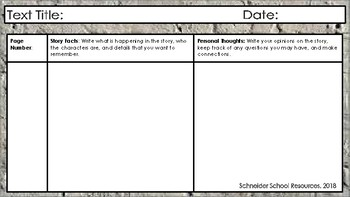 Double Response Journal for ANY Grade and ANY Novel