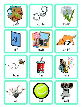 Double S, L, F, and Z Phonics Picture Sort Cards