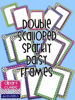 Double Scalloped Sparkly Daisy Frames