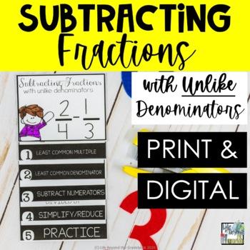 Fractions Mini Flip Book -Subtracting Fractions with Unlik
