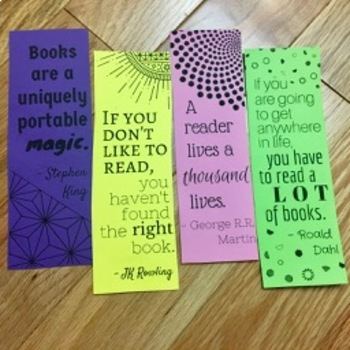 Double Sided Reading Bookmarks (Inspiring Quotes/Encouraging Research)