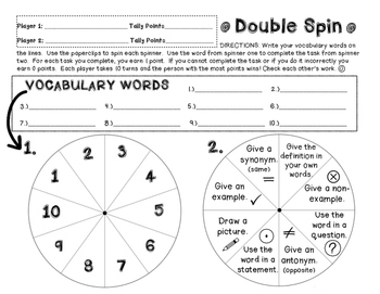 Double Spin - Vocabulary Review Game