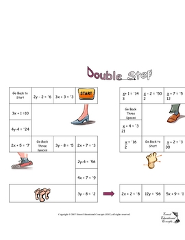 Double Step Board Game (Solving Two Step Equations with Integers).