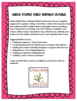 Mega Stuffed OREO Opinion / Argumentative Writing Outline