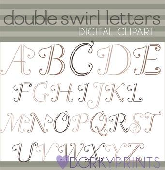 Double Swirl Alphabet Clip Art