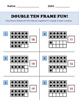 Double Ten Frame Fun Worksheet