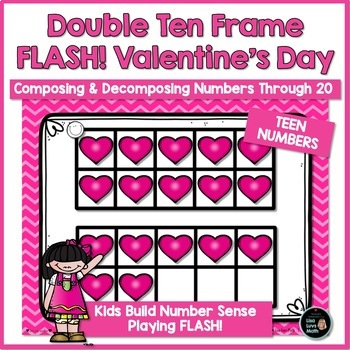 Double Ten Frames for Valentine's Day Teen Numbers