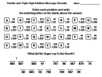 Double & Triple Digit Addition Without Regrouping Activity: Math Message Decoder