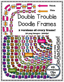 Double Trouble Doodle Frames - Thick and Thin Stars, Stripes and Swirls