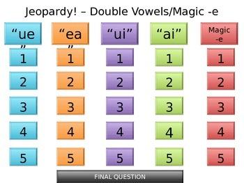 Double Vowel Jeopardy! - SmartBoard friendly