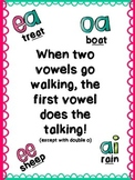 """Double Vowel Poster- """"When Two Vowels Go Walking"""""""