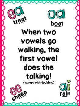 "Double Vowel Poster- ""When Two Vowels Go Walking"""