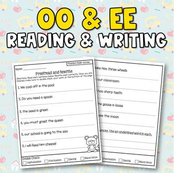 Double Vowel (ee, oo) Sentence Writing Activity (3 in 1)