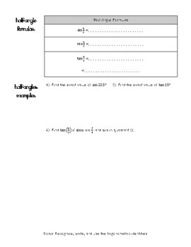 Double and Half-Angle, Product Sum Notes